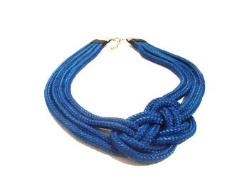 Nautical Rope Statement Necklace, Knot Necklace, Blue Knotted Bib Necklace
