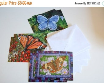 DELAYED SHIPPING thru 8/3 Butterflies Postcard Set printed with Original Art - Set of 6 Cards Original Watercolor Prints with Envelopes