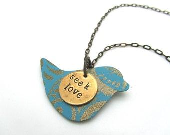 inspirational her necklace, bird neckalce, inspirational jewelry, layered necklace, swirl necklace, women, bird, unique jewelry, turquoise