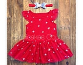 4th of July Dress, Baby's 1st 4th of July, Silver Glitter Star Dress, Patriotic Baby Dress, Baby Girl Star Dress, 4th of July Red Tutu Dress
