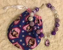 Sofia the First Amulet Bubble Gum Bead Necklace, Purple Amulet Necklace, Coordinating Fabric Drawstring Bag, Girl Gift, Princess