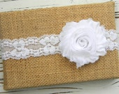 White Chiffon Headband - White Lace Headband - Baby White Headband