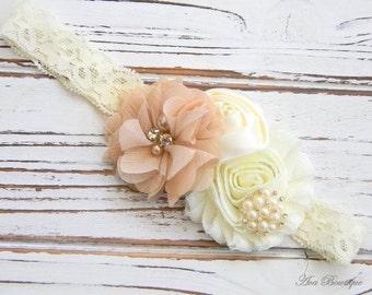 Ivory Shabby Chic Headband - Baby Chiffon Headband - Shabby Chic Headband - Ivory Lace Headband