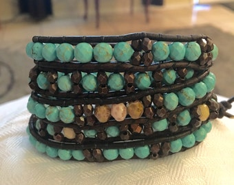 Turquoise and Czech Glass Leather Wrap Nracelet