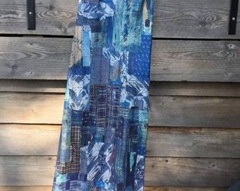 silk twill japanese boro patchwork print dress sleeveless
