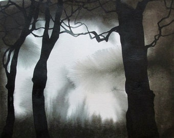 Forest Mystery, original watercolor painting