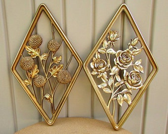 vintage 60s gold roses and dahlia flower wall plaques 2 syroco wood usa hollywood regency