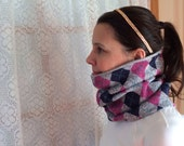 Pink blue gray squares Running Scarf, cowl, gator, Ski Mask, snood, tube scarf