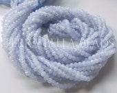 Full 13 inch strand natural blue CHALCEDONY faceted gem stone rondelle beads 2.5mm - 3mm