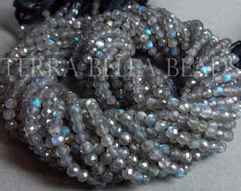 Full 13 inch strand SPECTROLITE LABRADORITE faceted round gem stone beads 3.5mm