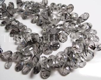 22 pc strand natural RUTILATED QUARTZ  faceted gem stone pear briolette beads 9mm - 14mm