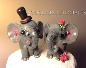 Elephant Wedding Cake Toppers Clay Cute Figurines