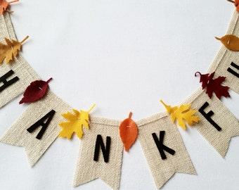 Thankful Burlap Banner with Felt Leaves