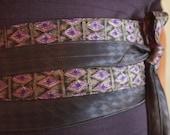 Amethyst -  Obi Corset Wrap Belt Recycled Silk Ties Purple Grey