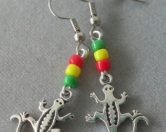Red, Yellow, and Green Beaded Gecko Earrings