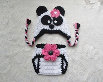 Panda Bear Crocheted Hat and Diaper Cover - Photo Prop Set - Available in Newborn, 3 to 6, 6 to 12 and 12 to 24