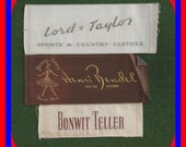 Vintage Embroidered  Sew In Clothing Labels Lord & Taylor Bonwit Teller Henri Bendel