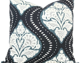 Pillow Cover, Kavali Ogee in Midnight by Robert Allen Square Pillow, Lumbar Pillow, Eurosham- Accent Pillows, Throw Pillows, Toss Pillows