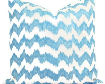 Jolo Aqua and Light Blue Zig Zag Pillow Cover by Quadrille Square or Lumbar pillow, Accent Pillow, Throw Pillow Toss Pillow Stripe Pillow