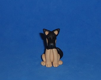 Polymer Clay Sittting German Shepherd Dog