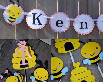 Bumble Bee Birthday Party Package, Bumble Bee Birthday Banner, Happy BeeDay Party