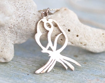 French Rose Necklace - Sterling Silver Pendant on Chain