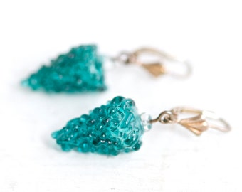 Glass Grapes Earrings - Sterling silver Dangle Earrings - Turquoise Fruits - Quirky Vintage Jewelry