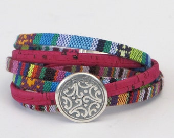 Globally Inspired, Fabric Wrap Bracelet, Whirly Wrap, Textile Jewelry, Portuguese Cork, Ethnic Tribal Cotton, Silver Disc, secure magnet,