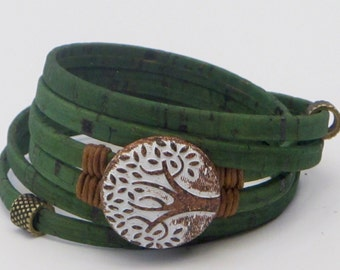 Portuguese Cork Wrap Bracelet, Tree of Life, waxed cotton wrapped, Cork Tree, rust carved large tree, green cork, brass secure magnet