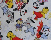 Pair vintage cotton sooty & sweep curtains circa 1980 strong clean condition – loads of fabric for crafts etc.