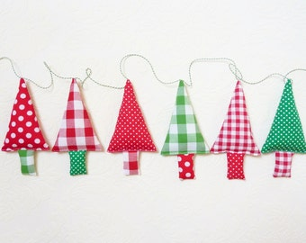 Fabric christmas garland christmas tree bunting