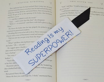 Reading Is My Superpower Bookmark - Book Accessory - Hand Embroidery - Comic Lover Gift - Blue Polka Dot - Bookworm Teacher Thank You Gift