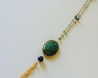Mossy Agate long tassel necklace