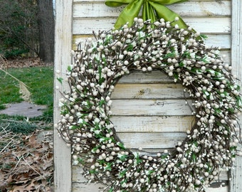 All Season Berry Wreath - Everyday Wreath - Door Wreath - Choose Ribbon and Size-Mother's Day Gift