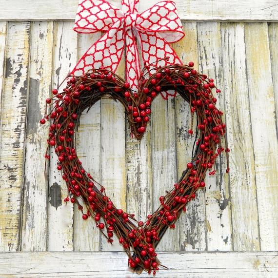 Red Heart Wreath - Valentine Wreath - Valentine Gift  - Wedding Wreath