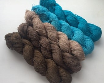 Set of brown-turquoise -  Cotton 100% (2ply ,) handdyed yarn 100g