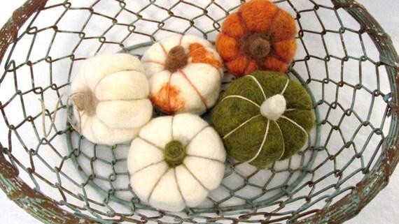 Deux citrouilles feutrées, décoration, laine citrouilles d'automne, vous choisissez deux