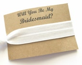 Bridesmaid Gift - Hair Tie - Will you be my Bridesmaid Gift - Hair Tie Favor - Bridesmaid Proposal - Bridal Party Gift - White Hair Tie