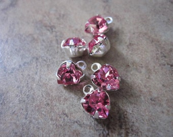 Drops - 6 Swarovski ® crystals and rhodium-plated brass, Crystal Passions®, rose, 6x6mm heart- JD14