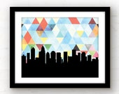 Charlotte NC | geometric Charlotte skyline print | Charlotte, North Carolina wall art | North Carolina print | geometric wall art