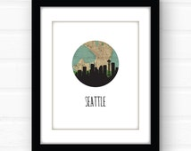 Seattle skyline | Seattle art print | Seattle map art | Seattle print | Seattle poster | Space Needle | city map art | map print