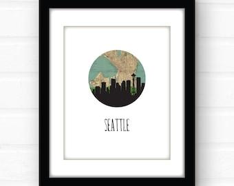 Seattle skyline art | Seattle art print | Seattle map art | Seattle print | Seattle poster | Space Needle | city map art | map print