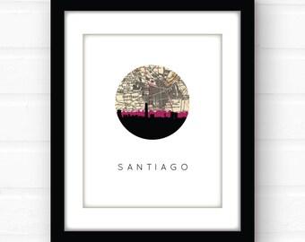 Santiago, Chile map art | South America art print | South America map art | travel poster | city skyline prints | city signs | Chile art