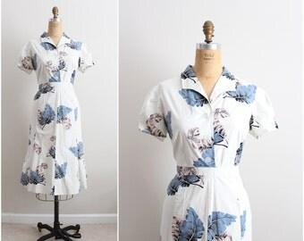 Vintage Tropical Dress / Cotton Dress / Hawaiian Dress / 50s Style / Size M/L/ Size 12