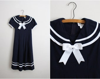Vintage Sailor Lolita on a Blue Dress / Nautical Dress/  Rockabilly/ Size XS/ Small