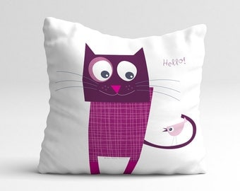 Fun purple cat, quote pillow cover, kids throw pillow, cushion cover, home decor, decorative pillows, children bedding, nursery throw pillow