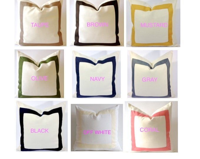 Decorative Pillow Cover Cotton Canvas with Grosgrain Ribbon 10x20 To 26x26 On White or Off White Canvas