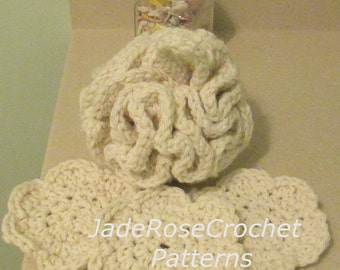 Crochet Bath Pouf Pattern, Crochet Flower Exfoliator Pattern, Crochet Spa Patterns, Crochet Exfoliator Pattern, PDF517