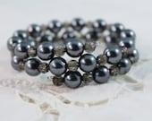 Beautiful Smokey Black Color Faux Pearl and Plastic Bead Wrap Around Bracelet