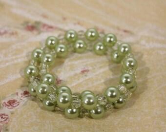 Pretty Pastel Green Wrap Around Plastic Bead Fashion Bracelet